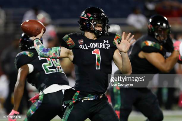 Team Ballaholics quarterback Bo Nix during the 2019 Under Armour AllAmerica Game between Team Ballaholics and Team Flash on January 03 2019 at...