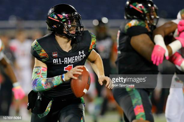 Team Ballaholics quarterback Bo Nix looks for a receiver during the Under Armour AllAmerica Game between Team Ballaholics and Team Flash on January 3...