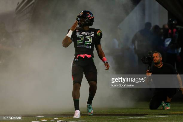 Team Ballaholics running back Devyn Ford during player introductions before the 2019 Under Armour AllAmerica Game between Team Ballaholics and Team...