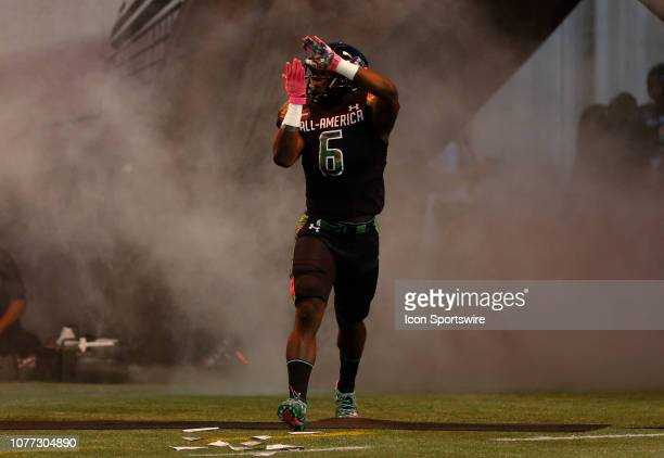 Team Ballaholics running back Sean Dollars during player introductions before the 2019 Under Armour AllAmerica Game between Team Ballaholics and Team...
