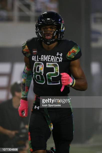 Team Ballaholics safety Jarrian Jones during player introductions before the 2019 Under Armour AllAmerica Game between Team Ballaholics and Team...