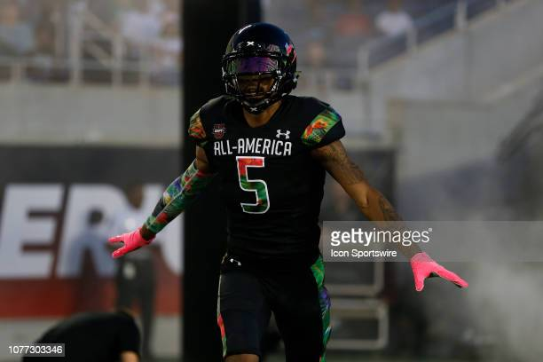 Team Ballaholics wide receiver Arjei Henderson during player introductions before the 2019 Under Armour AllAmerica Game between Team Ballaholics and...