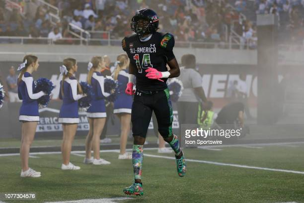 Team Ballaholics wide receiver Jashawn Sheffield during player introductions before the 2019 Under Armour AllAmerica Game between Team Ballaholics...
