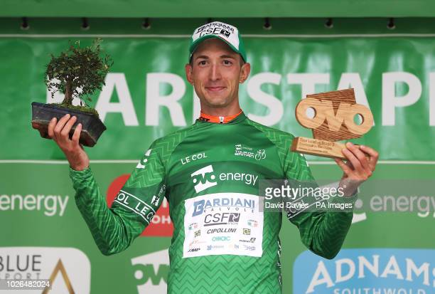 Team Bardiani Csf's Alessandro Tonelli celebrates becoming race leader with the green jersey during stage two of the Ovo Energy Tour of Britain 2018...