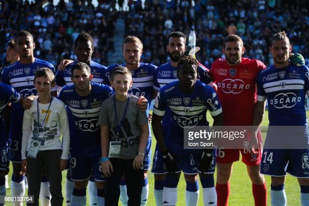 Team Bastia during the Ligue 1 match between SC Bastia and Olympique Lyonnais Lyon at Stade Armand Cesari on April 16 2017 in Bastia France