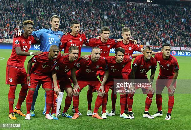 Team Bayern Muenchen poses before the UEFA Champions League quarter final first leg match between FC Bayern Muenchen and SL Benfica Lisbon at Allianz...