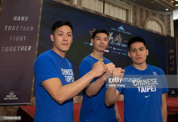 Team Beijing Ducks guard Yi Hsiang Choteam Fujian Sturgeons Kevin Long Mao Hu and Guangzhou LongLions gurads Ying Chun Chen attends the Chinese...