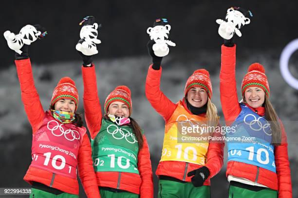 Team Belarus wins the gold medal during the Biathlon Women's Relay at Alpensia Biathlon Centre on February 22 2018 in Pyeongchanggun South Korea