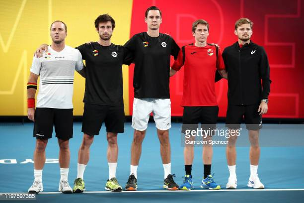 Team Belgium line up for their national anthem ahead of the Group C singles match between Steve Darcis of Belgium and Cameron Norrie of Great Britain...