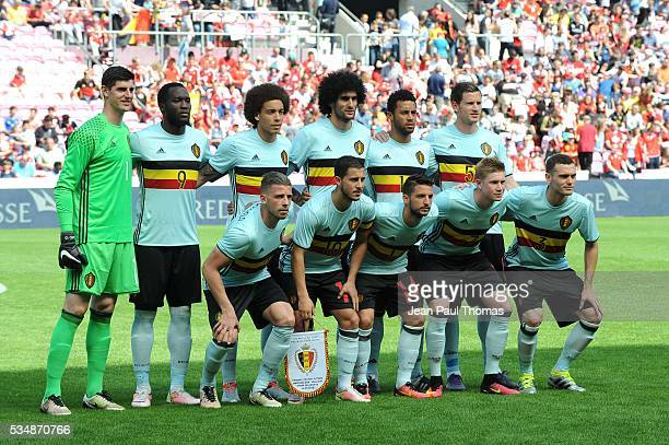 Team Belgium lines up during the international friendly match between Switzerland and Belgium on May 28 2016 in Geneva Switzerland
