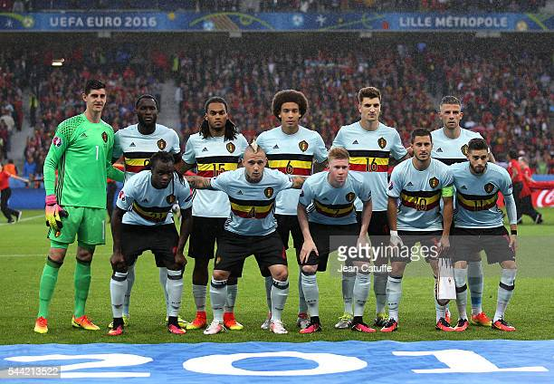 Team Belgium poses prior to the UEFA Euro 2016 quarter final match between Wales and Belgium at Stade PierreMauroy on July 1 2016 in Lille France