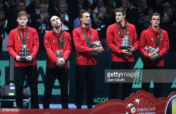 Team Belgium with David Goffin Steve Darcis Ruben Bemelmans Joris De Loore Arthur De Greef during the trophy presentation on day 3 of the Davis Cup...