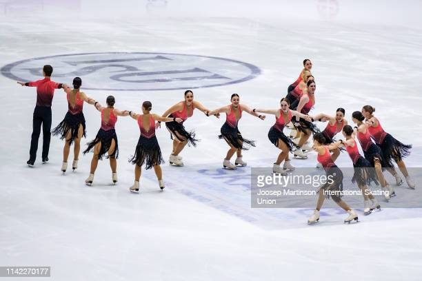 Team Berlin 1 of Germany perform in the Short Program during day one of the ISU World Synchronized Skating Championships at Helsinki Arena on April...