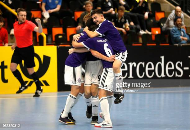 Team Berlin celebrate scoring a goal during the final of the DFB Indoor Football match CJunioren between Tennis Borussia Berlin and SpVgg Greuther...