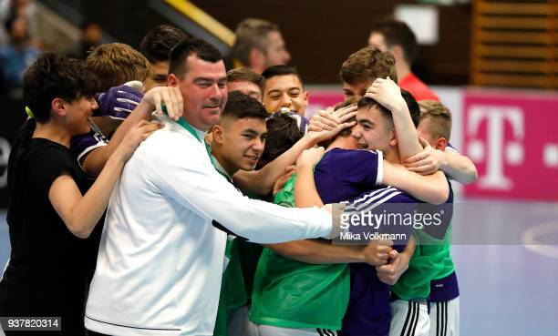 Team Berlin celebrate the victory after the final of the DFB Indoor Football match CJunioren between Tennis Borussia Berlin and SpVgg Greuther Fuerth...