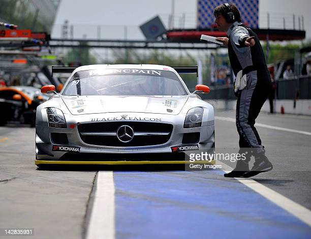 Team Black Falcon Mercedes car makes his way in the pit lane during the Blancpain GT Endurance test day one at Autodromo di Monza on April 13 2012 in...
