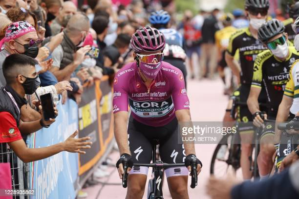 Team Bora rider Slovakia's Peter Sagan arrives to take the start of the 5th stage of the Giro d'Italia 2020 cycling race, a 225-kilometer route...