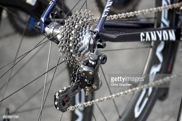 Team Bora-Hansgrohe / Detail view / Chain / Crankset / Disk Brake / Specialized Bike / during the 105th Tour de France 2018, Training / TDF / on July...