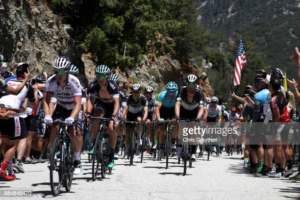 Team Borahansgrohe leads the peloton during stage five of the AMGEN Tour of California from Ontario to Mt Baldy on May 18 2017 in Ontario California