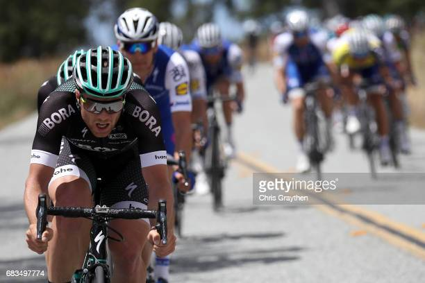 Team Bora-hansgrohe leads the peloton during stage two of the AMGEN Tour of California from Modesto to San Jose on May 15, 2017 in Modesto,...