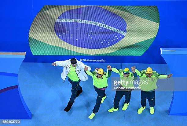 Team Brazil are greeted to the crowd before the Men's 4 x 100m Medley Relay Final on Day 8 of the Rio 2016 Olympic Games at the Olympic Aquatics...
