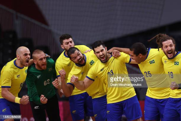 Team Brazil are seen cheering afr ahead of the Men's Preliminary Round Group A between Norway and Brazil on day one of the Tokyo 2020 Olympic Games...
