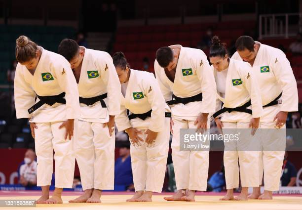 Team Brazil bow as they prepare to face Team Netherlands during the Mixed Team Quarter Final on day eight of the Tokyo 2020 Olympic Games at Nippon...