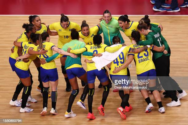 Team Brazil celebrate after winning the Woman's Preliminary Round Group B match between Brazil and Hungary on day four of the Tokyo 2020 Olympic...