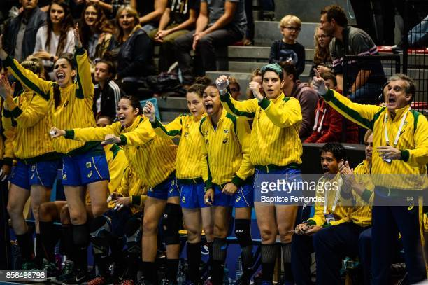 Team Brazil celebrates during the handball women's international friendly match between France and Brazil on October 1 2017 in TremblayenFrance France