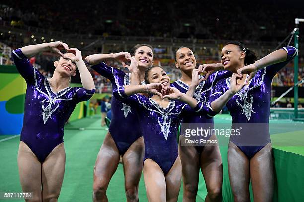 Team Brazil celebrates their performance after Women's qualification for Artistic Gymnastics on Day 2 of the Rio 2016 Olympic Games at the Rio...