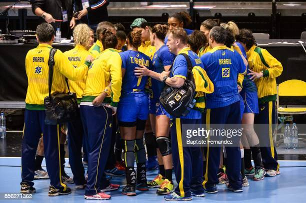 Team Brazil during the handball women's international friendly match between France and Brazil on October 1 2017 in TremblayenFrance France