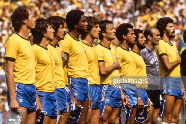 Team Brazil during the second stage of the 1982 FIFA World Cup match between Italy and Brazil, at Sarria Stadium, Barcelona, Spain on 5 July 1982