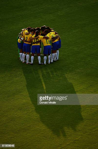 Team Brazil huddles at the start of the International Friendly Match between Brazil and the United States at the Torero Stadium July 16 2008 in San...