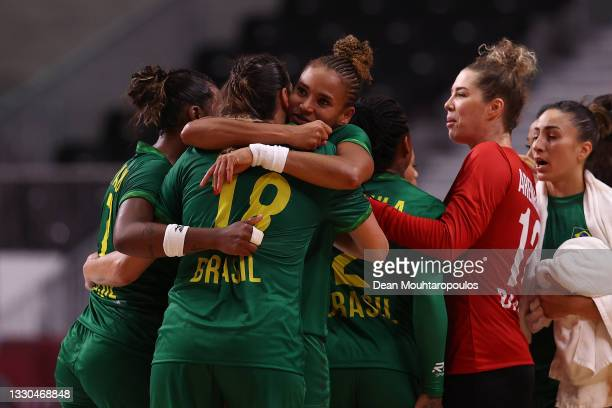 Team Brazil players celebrate after drawing the Women's Preliminary Round Group B match between ROC and Brazil on day two of the Tokyo 2020 Olympic...