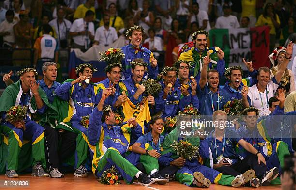 Team Brazil pose for photos after receiving the gold medal for men's indoor Volleyball during ceremonies on August 29 2004 during the Athens 2004...