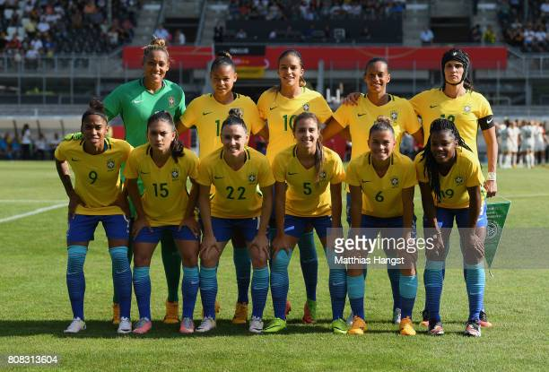 Team Brazil poses for a photo prior to the Women's International Friendly match between Germany and Brazil at BWTStadion am Hardtwald on July 4 2017...