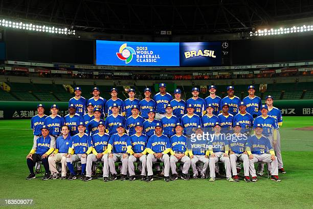 Team Brazil poses for a team photo before the Pool A Game 1 between Team Japan and Team Brazil during the first round of the 2013 World Baseball...
