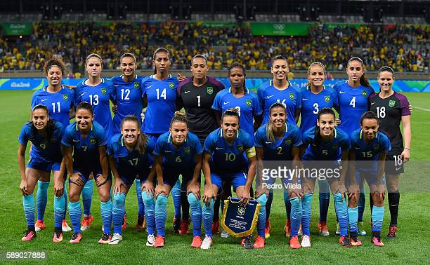 Team Brazil smiles for a team photo before playing against Australia during the Women's Football Quarterfinal match at Mineirao Stadium on Day 7 of...