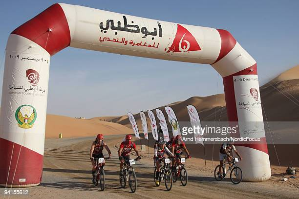 Team Briard of France reaches the finish at the desert resort Qasr Al Sarab on December 8 2009 in Abu Dhabi United Arab Emirates