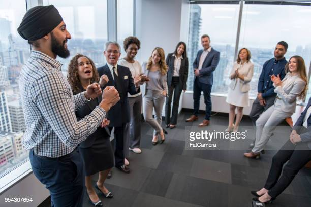 team building in a high-rise city office - social gathering stock pictures, royalty-free photos & images