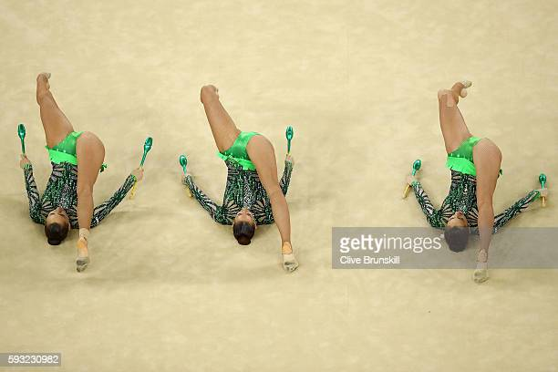 Team Bulgaria competes during the Group AllAround Final on Day 16 of the Rio 2016 Olympic Games at Rio Olympic Arena on August 21 2016 in Rio de...