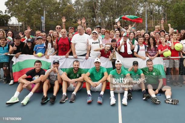 Team Bulgaria meet Bulgarian fans during day three of the 2020 ATP Cup Group Stage at Ken Rosewall Arena on January 05 2020 in Sydney Australia