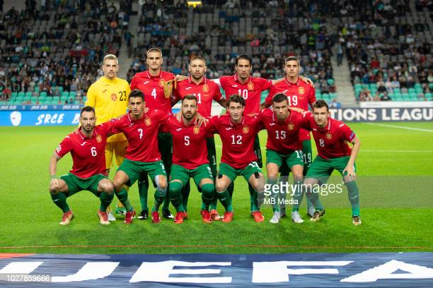 Team Bulgaria posing for a team photo during football match between National Teams of Slovenia and Bulgaria in Final Tournament of UEFA Nations...