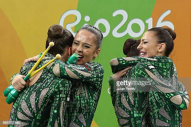 Team Bulgaria reacts after winning bronze during the Group AllAround Final on Day 16 of the Rio 2016 Olympic Games at Rio Olympic Arena on August 21...