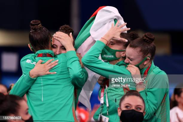 Team Bulgaria reacts after winning the gold medal during the Group All-Around Final at Ariake Gymnastics Centre on August 08, 2021 in Tokyo, Japan.