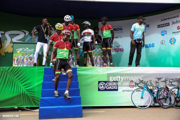 Team Burkina Faso is presented at the start of the Kango stage of the 2018 edition of La Tropicale Amissa cycling race in Kango on January 15 2018...