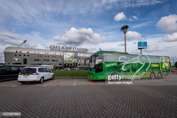 Team bus of ADO Den Haag in front of the stadium during the Dutch Eredivisie match between ADO Den Haag v Fortuna Sittard at the Cars Jeans Stadium...