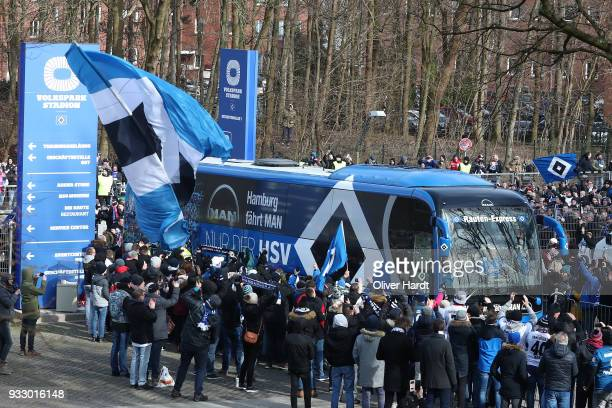Team bus of Hamburg arrives at the stadium prior to the Bundesliga match between Hamburger SV and Hertha BSC at Volksparkstadion on March 17 2018 in...