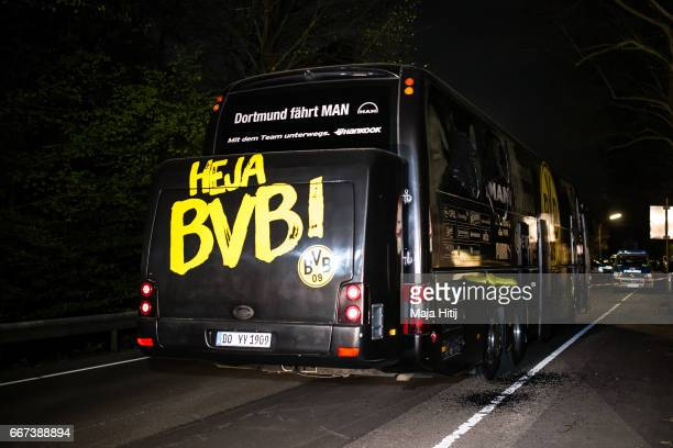 Team bus of the Borussia Dortmund football club damaged in an explosion is seen on April 12 2017 in Dortmund Germany According to police an explosion...
