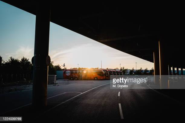 Team buses are parked during a training session at Allianz Arena on May 10, 2020 in Munich, Germany. FC Bayern Muenchen will face 1. FC Union Berlin...